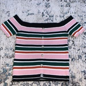 Striped off the shoulder sweater crop top